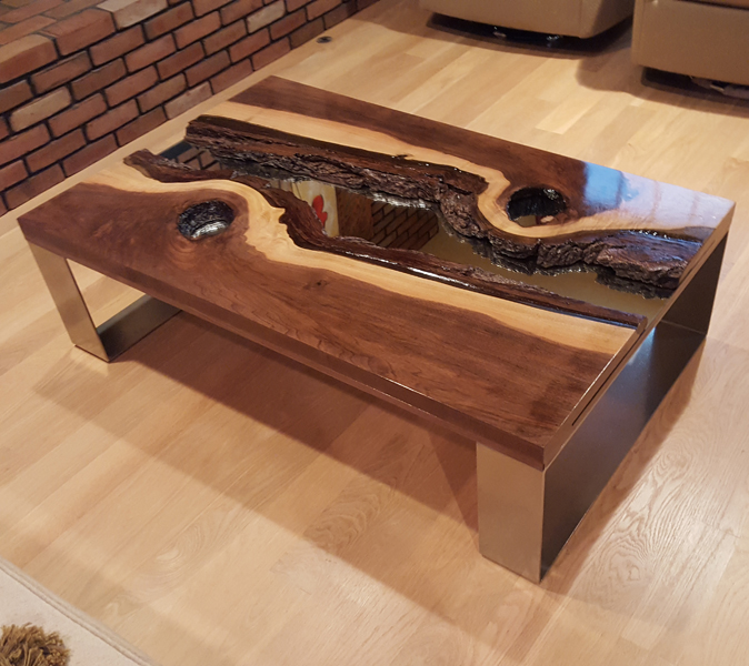 River Table Black Walnut Mirror Table