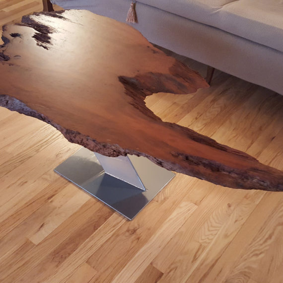 Live Edge Redwood Slab Cantilevered Coffee Table